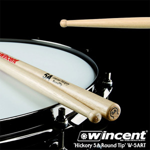 Wincent 빈센트 드럼스틱 Hickory 5A Round Tip Drum Stick (W-5ART)