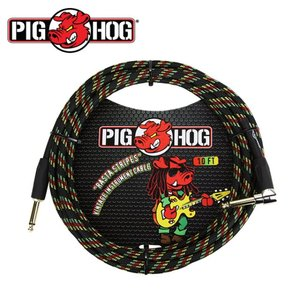PIG HOG 피그호그 기타케이블 RASTA STRIPES 3m INSTRUMENT CABLE, RIGHT ANGLE
