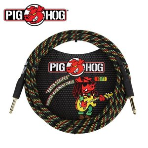 PIG HOG 피그호그 기타케이블 RASTA STRIPES 3m INSTRUMENT CABLE