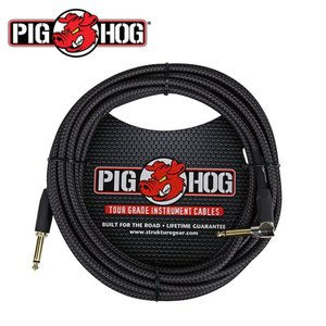 PIG HOG 피그호그 기타 케이블 BLACK WOVEN 6m INSTRUMENT CABLE, RIGHT뮤직메카